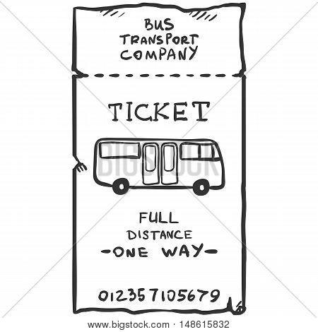 Vector Single Sketch Bus Ticket