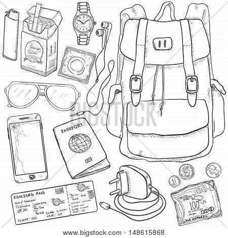 Vector Sketch Travel Set.