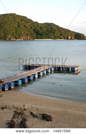 Makeshift floating docks on tropical ocean beachside
