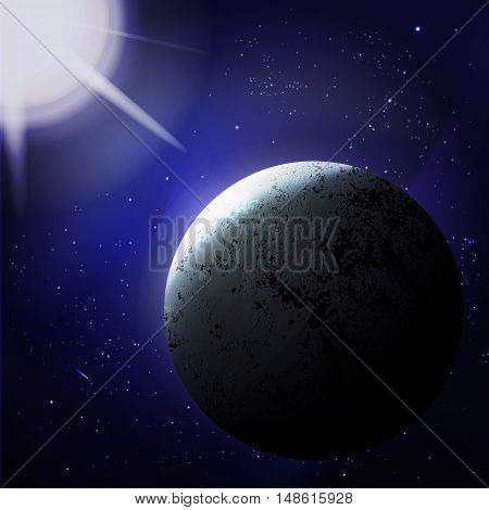 vector illustration. Abstract background space. Planet illuminated by the star.