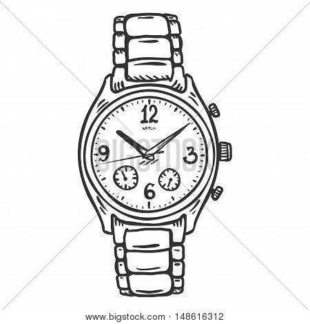 Vector Sketch Classic Mens Wrist Watch