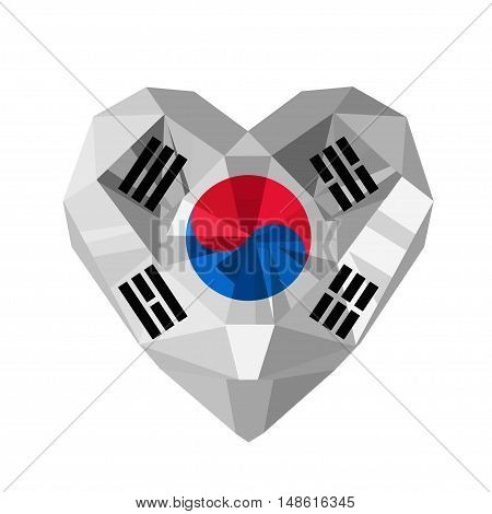 Vector crystal gem jewelry Korean heart with the flag of  the Republic of Korea. ROK.  Flat style logo symbol of love South Korea. Independence Day August 15 March 1. Asia