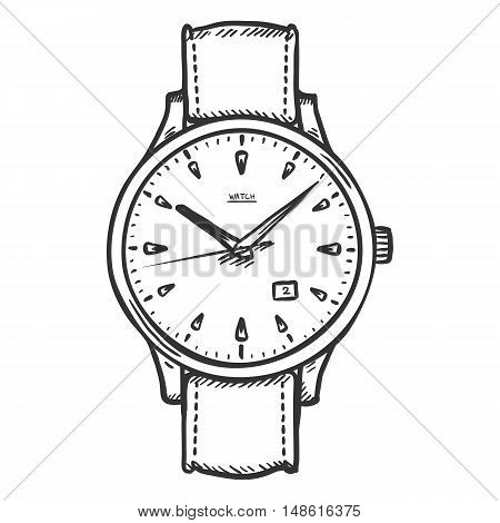 Vector Sketch Retro Wrist Watch