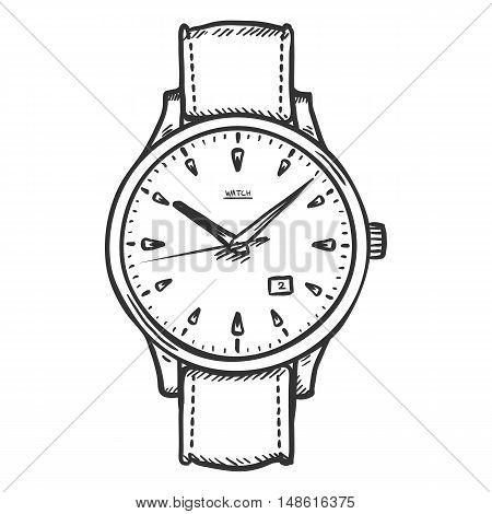 Vector Sketch Retro Wrist Watch