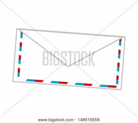 white envelope mail with blue and red frame. vector illustration