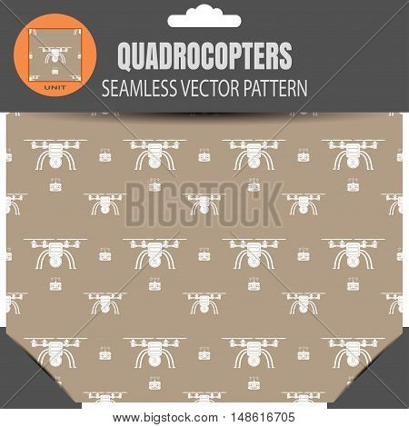 Package of vector seamless pattern of quadrocopters and remote controls on the brown background with pattern unit in the top.