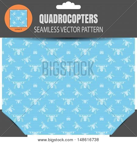 Vector seamless pattern of quadrocopters and remote controls on the light blue background in retail package with pattern unit in the top.