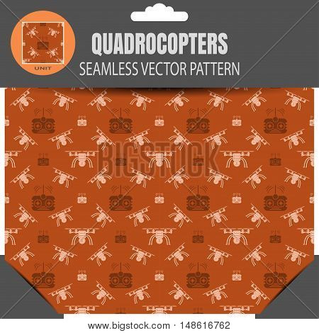 Vector seamless pattern of quadrocopters and remote controls on the brown background in package with pattern unit in the top.