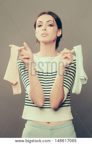 Pretty Stylish Woman With Panties In Studio