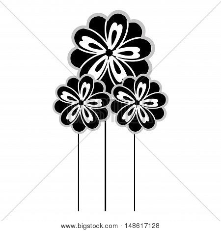 flowers floral natural plant silhouette. vector illustration