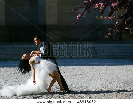 Wedding Sexy Couple Dancing Sunny Outdoor