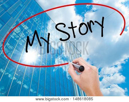 Man Hand Writing My Story With Black Marker On Visual Screen
