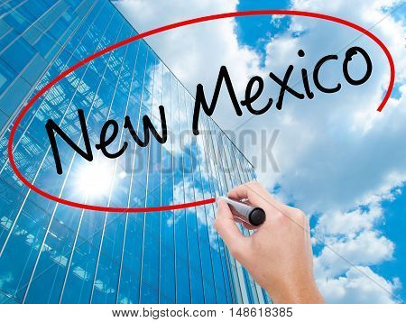 Man Hand Writing New Mexico With Black Marker On Visual Screen
