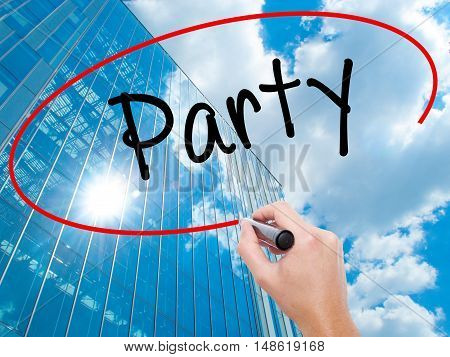 Man Hand Writing Party With Black Marker On Visual Screen