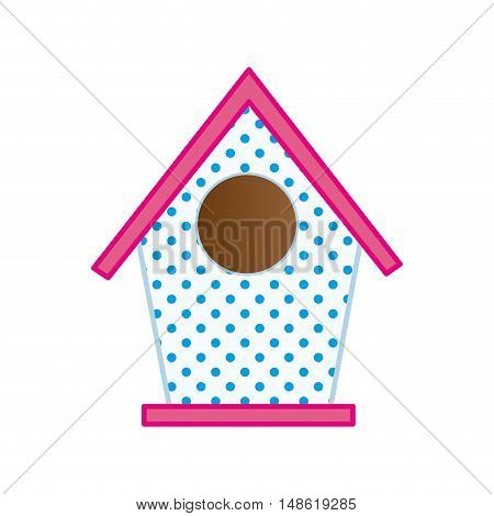 nesting box. bird house with pink roof. vector illustration