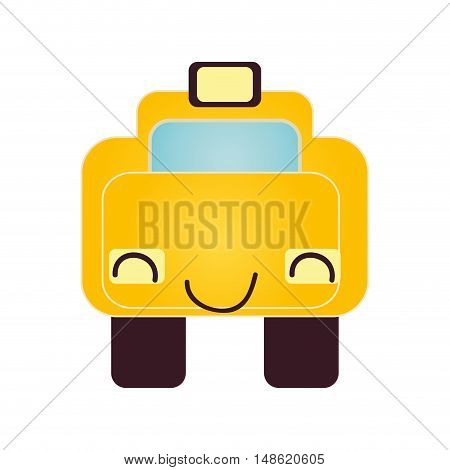 yellow taxi car vehicle transport. cab service automobile. vector illustration