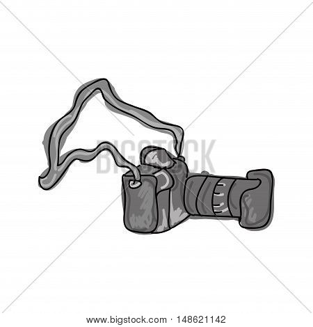 professional photographic camera digital device. drawn design. vector illustration