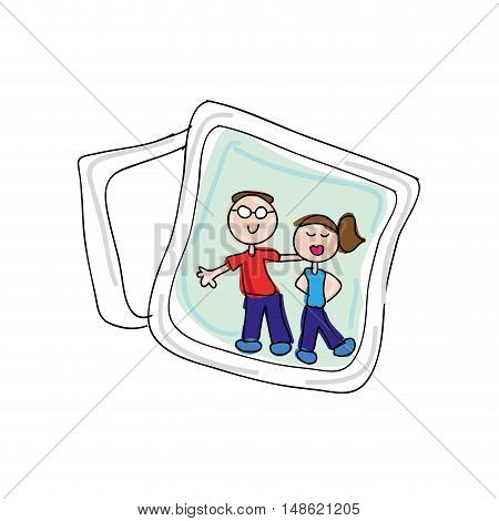 photo card with a couple family. drawn design. vector illustration