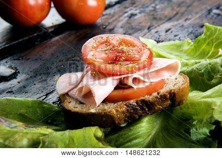 Bruschetta With Ham And Tomato