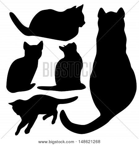 Vector cats silhouette set isolated from background.