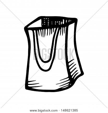 shopping bag. purchase container. drawn design vector illustration