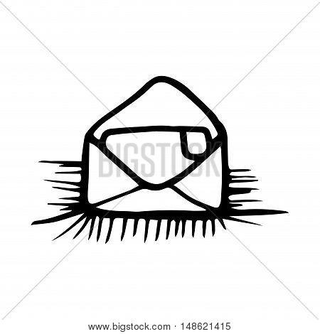 open envelope mail letter. drawn design. vector illustration