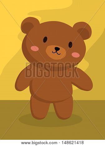 Vector illustration of a little grizzly brown bear standing in brown background.