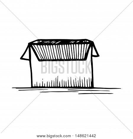 open carton box. packing delivery and shipping service. drawn design vector illustration