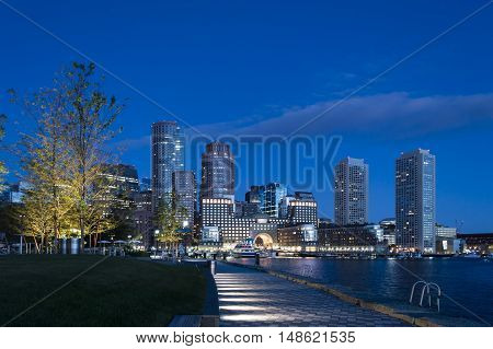 Pre-dawn view of Rowes Wharf from Harborwalk in South Boston