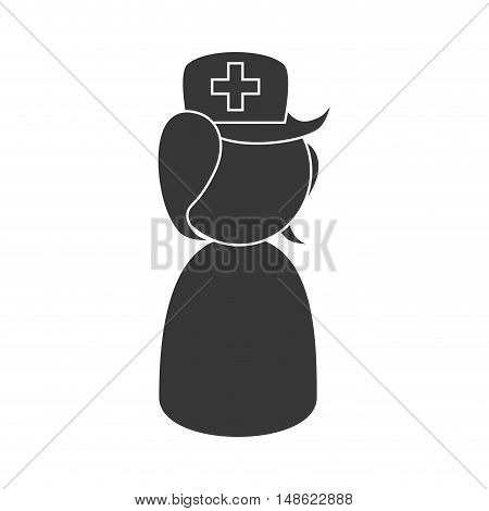 avatar woman nurse with green hat and white cross. vector illustration