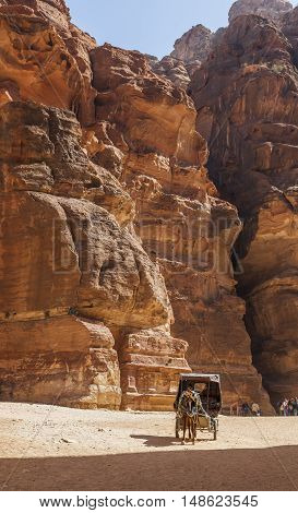 PETRA JORDAN - OCTOBER 29 2014: Unidentified local coachman in horse cart near Al Khazneh (The Treasury).