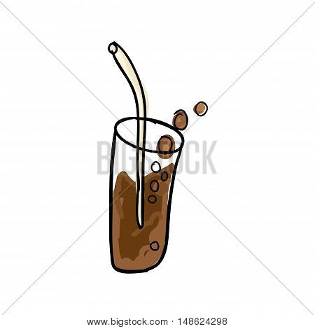 glass with soda drink  and straw. drawn design. vector illustration