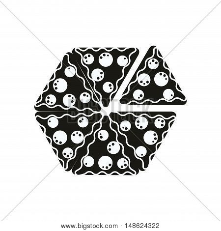 pepperoni pizza traditional fast food silhouette. vector illustration