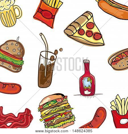 traditional american fast food background. drawn design. vector illustration