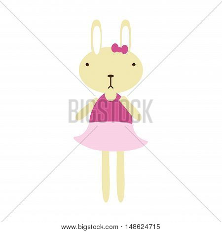 cartoon cute rabbit animal with pink dress. vector illustration