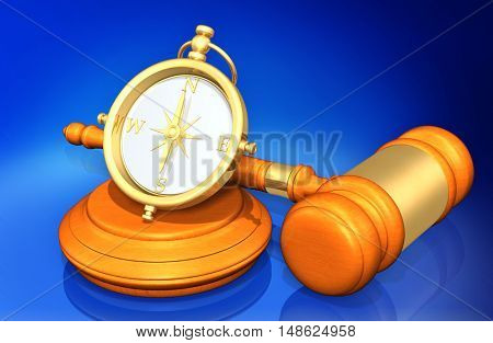 Compass Legal Gavel Concept 3D Illustration