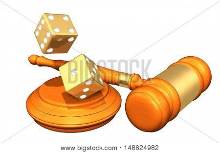 Dice Legal Gavel Concept 3D Illustration