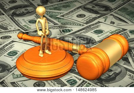 The ORIGINAL Character Legal Gavel Concept 3D Illustration