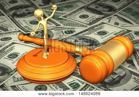 Victory Successful Legal Gavel Concept 3D Illustration