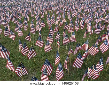 Boston Common display of US flags representing thousands of fallen American service men and women.