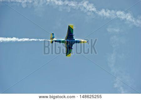 Kharkiv Ukraine - August 20 2016: Jet L-29 Dolphin (NATO reporting name: Maya) trainer airplane flying at the airfield Korotych Kharkov region Ukraine on August 20 2016