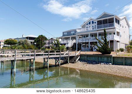 Luxury waterfront homes on the intercoastal waterway, Sunset Beach, North Carolina