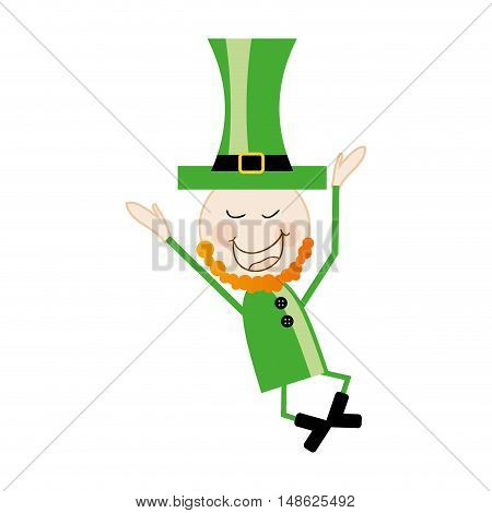 leprechaun irish man symbol with green clothes and top hat. vector illustration