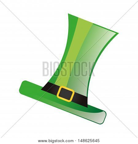 leprechaun green top hat accessory. irish symbol. vector illustration