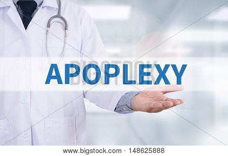 APOPLEXY Medicine doctor hand working Doctor work hard