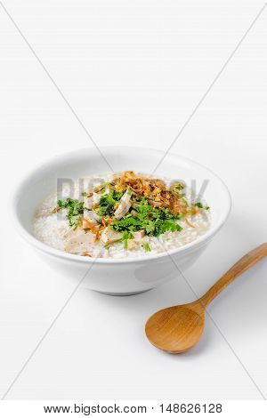 'khao Tom Moo' Thai Breakfast, Rice Congee Mixed With Meat On White Backgroud