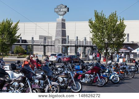 York PA - September 23 2016: Thousands of motorcycle enthusiasts parked their cycles at the annual Harley-Davidson Factory Open House.