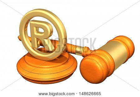 Registered Trademark Legal Gavel Concept 3D Illustration