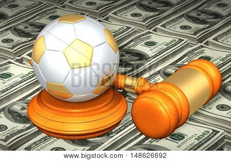 Soccer Ball Legal Gavel Concept 3D Illustration