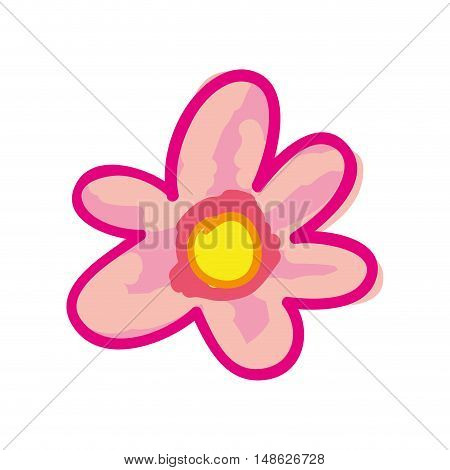 pink floral flower.  nature plant decoration. drawn design. vector illustration